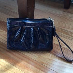 Handbags - Coach Navy Patten Wristlet